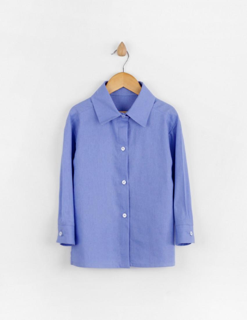 Рубашки льняные Мичи васильковые
