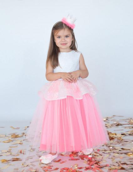 Платье Шания бело-розовое