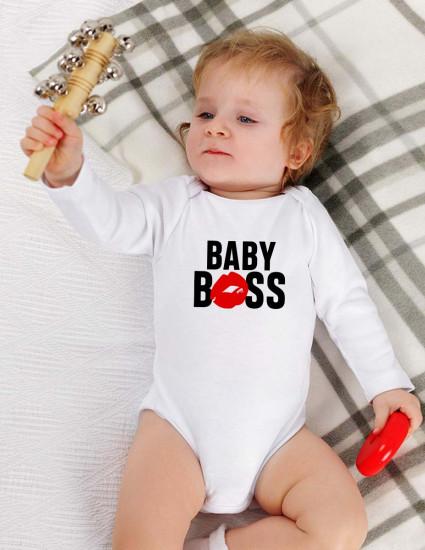 Боди белый с длинным рукавом BABY BOSS