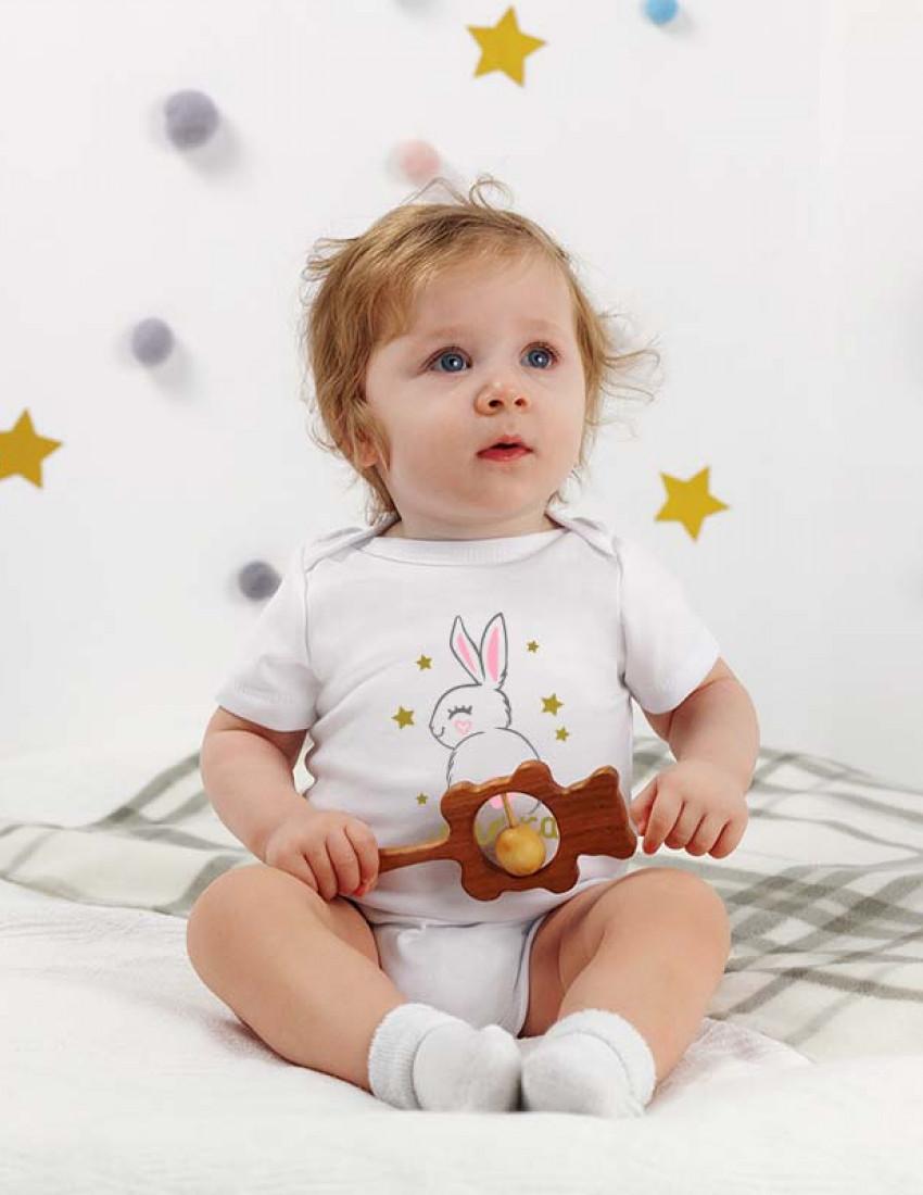 Боди белый с коротким рукавом Bunny name