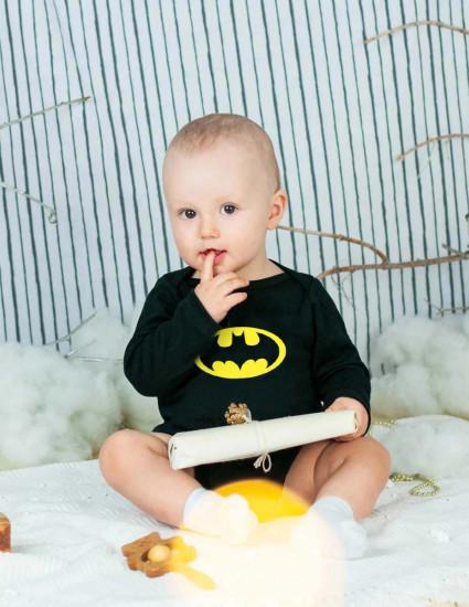 Боди черный с длинным рукавом Batman