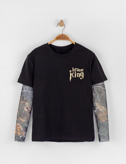 Футболка Дрейк мужская tattoo art Brave king