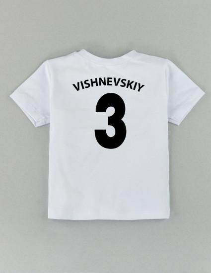 Футболка Овер белая с фамилией и номером