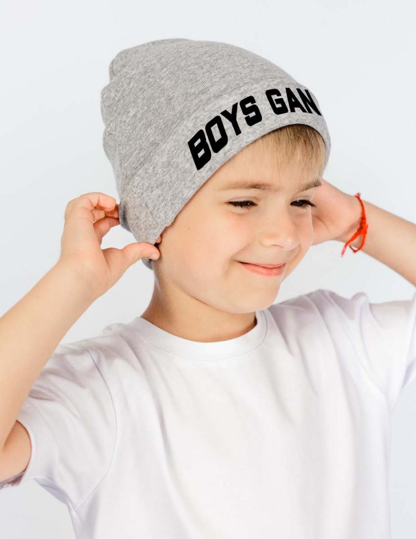 Шапка детская с заворотом серая Boys gang