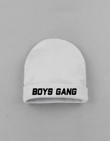 Шапка детская с заворотом белая Boys gang