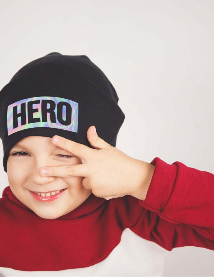 Шапка детская черная Hero, hologram