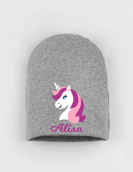 Шапка детская серая Alisa unicorn