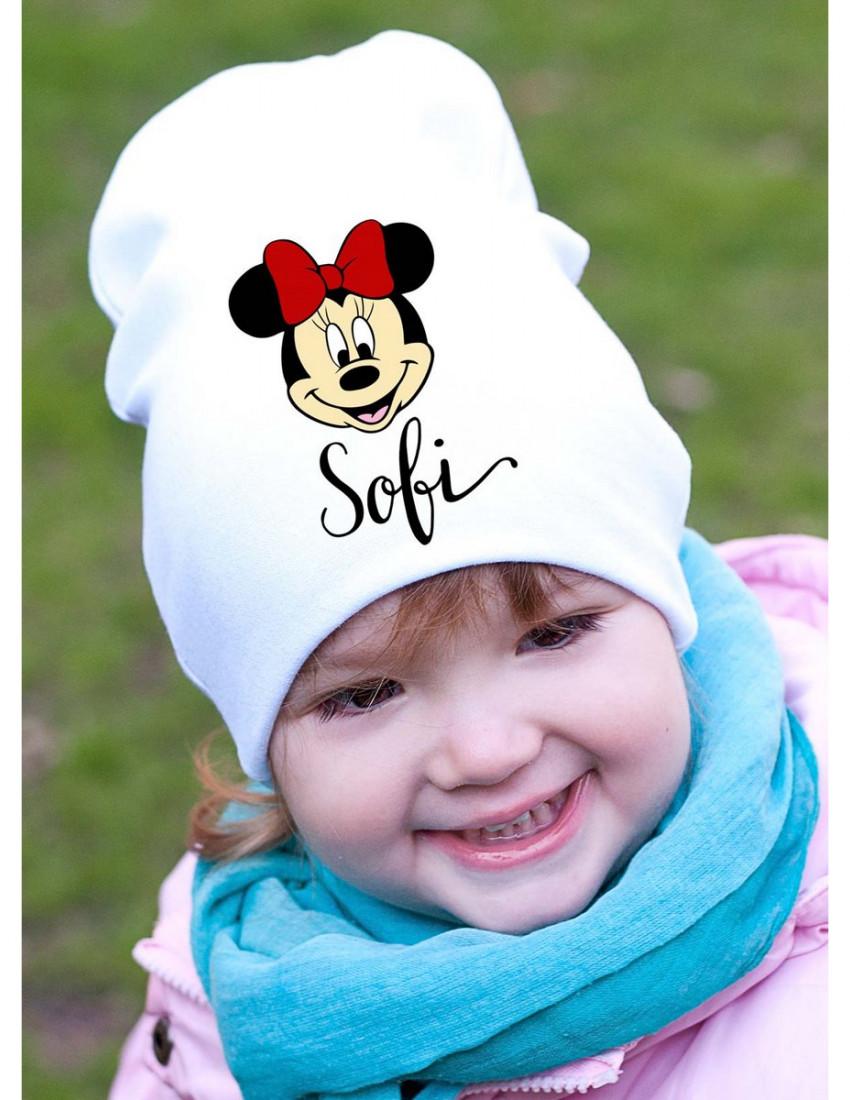 Шапка детская белая Cutie minnie