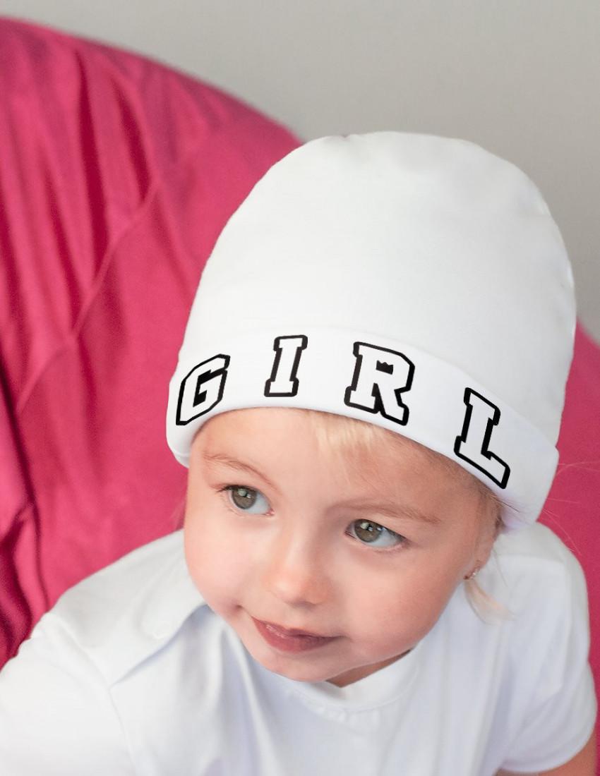 Шапка детская с заворотом белая Girl style