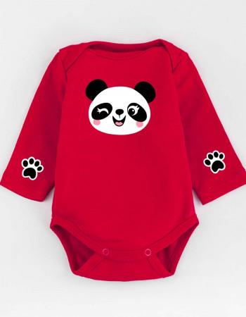 Боди красный с длинным рукавом Little panda