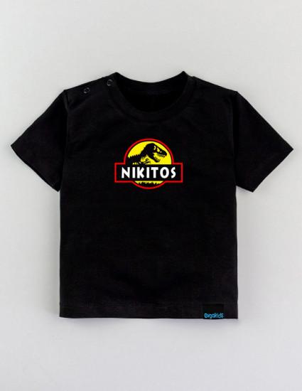 Футболка Овер черная Dinosaur name