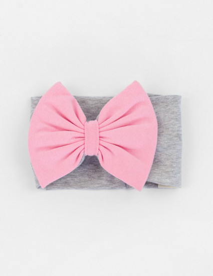 Повязка Candy серая с розовым бантом