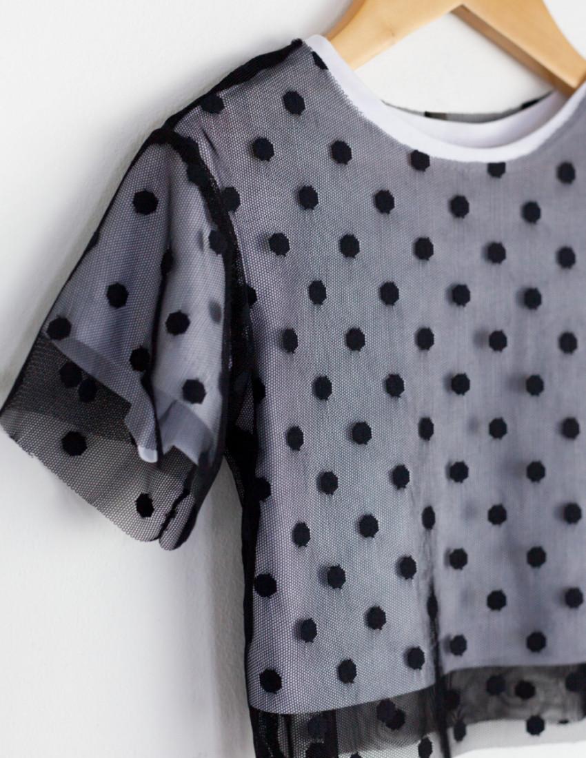 Футболка Mesh&dots белая в черный горох