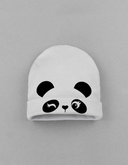Шапка детская с заворотом белая Cute panda