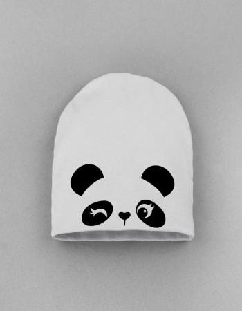 Шапка детская без заворота белая Cute panda