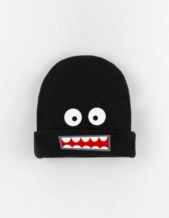 Шапка детская с заворотом черная Smile monster