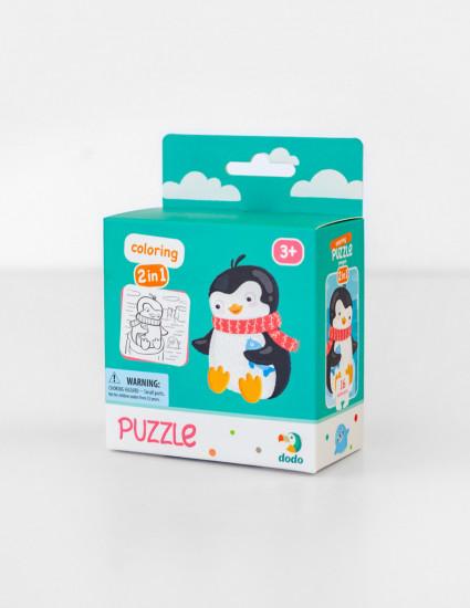 Пазл 2 в 1 с раскраской Пингвинчик