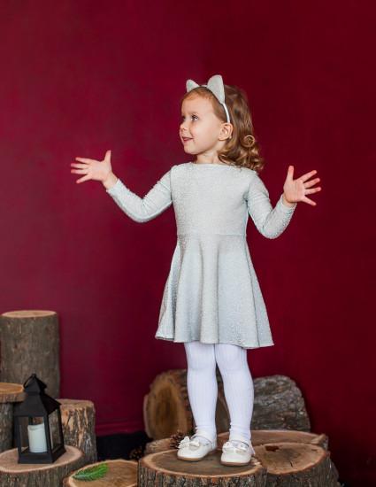 Платье Альванна белое с серебром