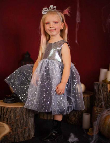 Платье Делия чёрное с серебром
