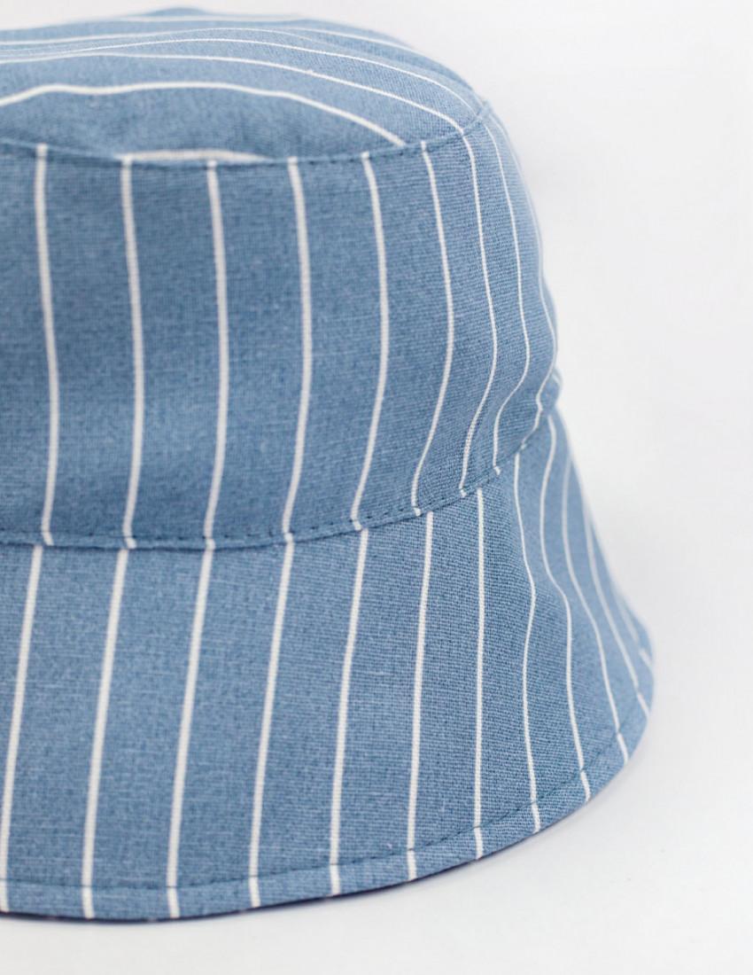 Панамка льняная Лима голубая в белую полоску