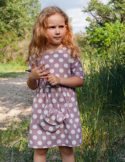 Платье льняное Венди пудровое в белый горох