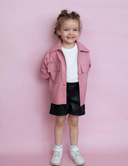 Рубашка кожаная Моникс розовая