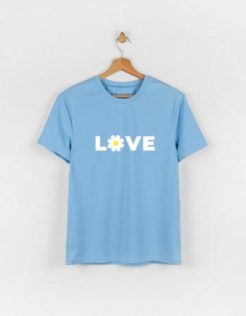 Футболка Овер для взрослого голубая LOVE ROMASHKA