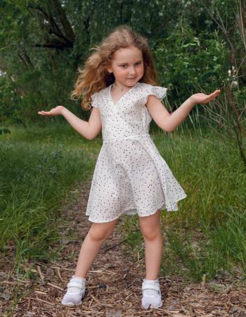 Платье Кортни белое чёрный горох