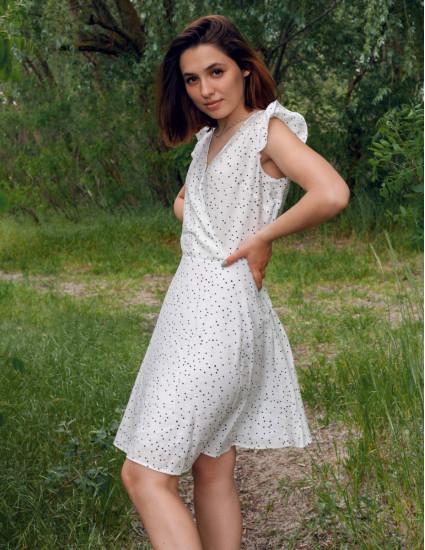 Платье Кортни женское белое чёрный горох