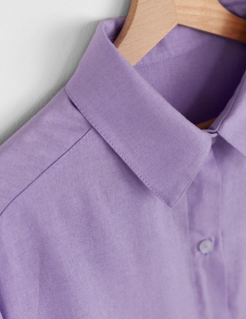 Рубашка льняная Мичи женская лавандовая