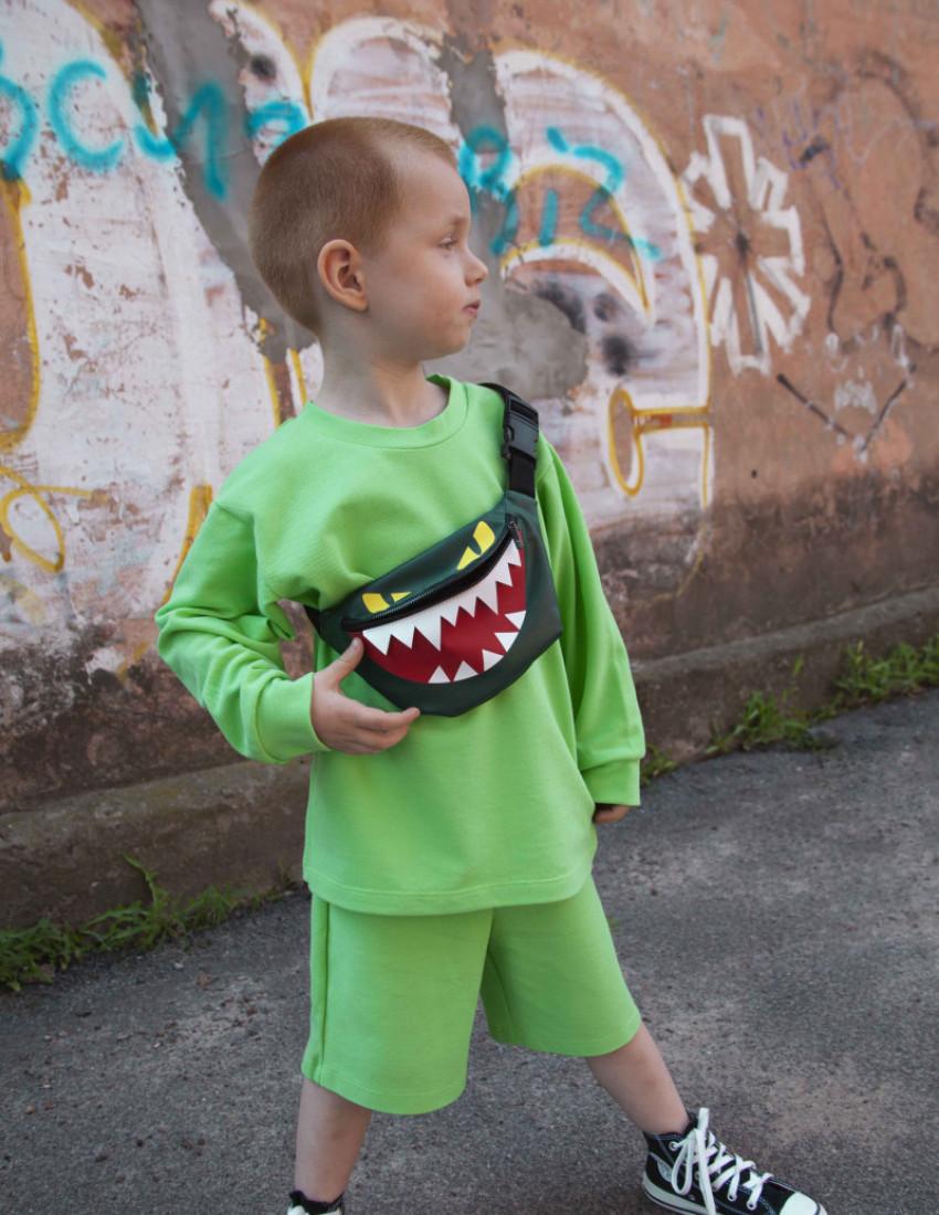 Сумка-бананка Грейн тёмно-зелёная