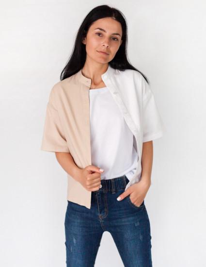 Рубашка льняная Джейн женская бежево-белая