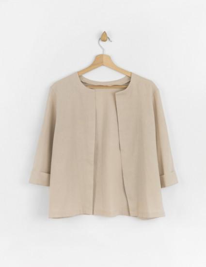 Рубашка льняная Фрэнсис женская бежевая