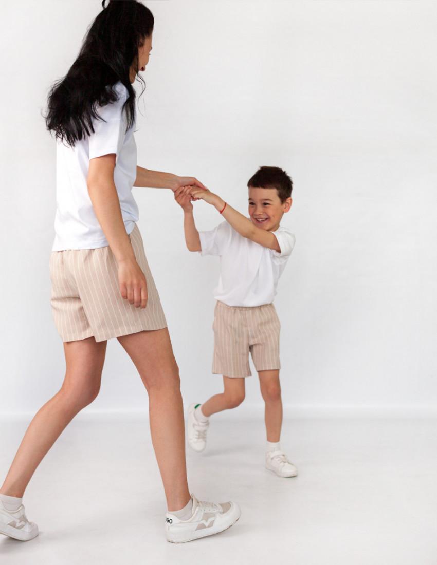 Шорты льняные Фрэнсис для мальчика бежевые в полоску