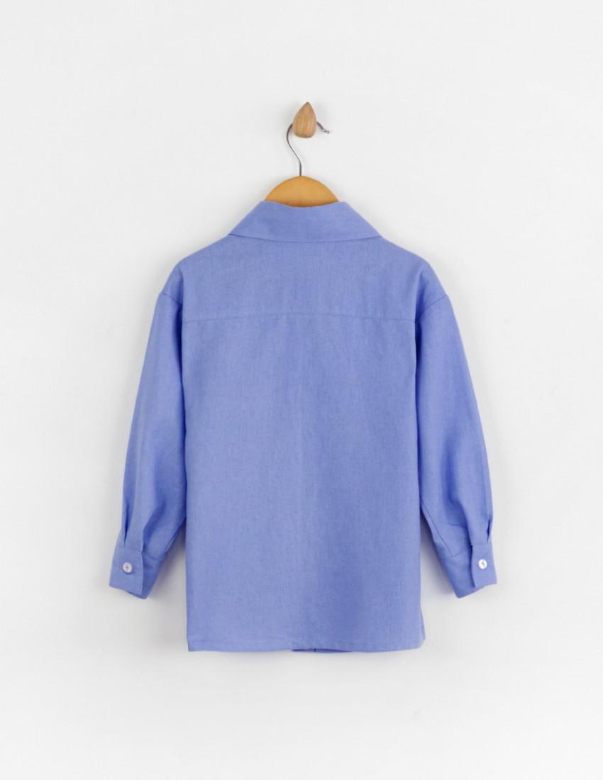 Рубашка льняная Мичи васильковая