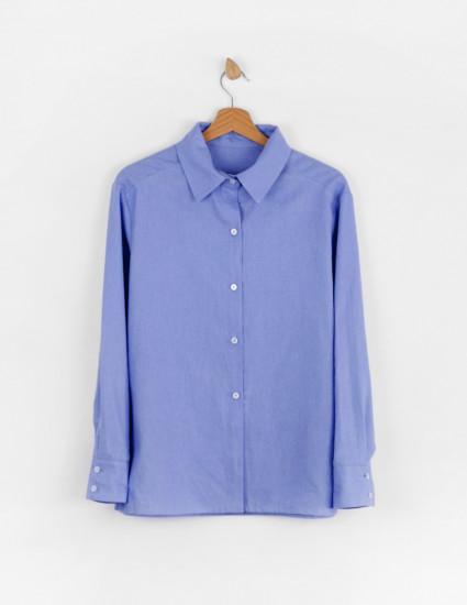 Рубашка льняная Мичи женская васильковая.