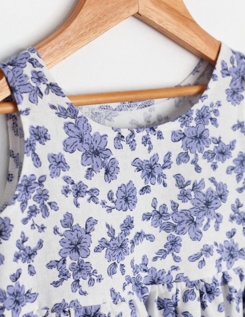 Платье льняное  Астрит белое с васильковыми цветами
