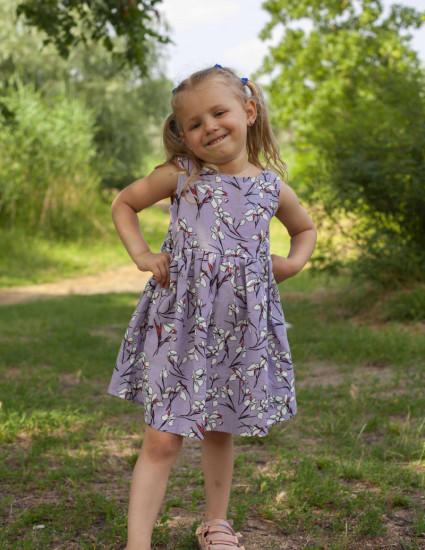 Платье льняное Астрит лавандовое в цветочек