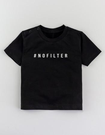 Футболка Овер черная #NOFILTER