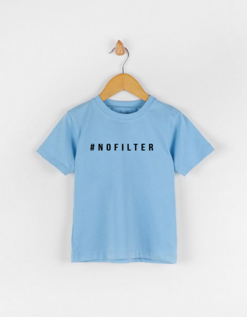 Футболка Овер голубая #NOFILTER