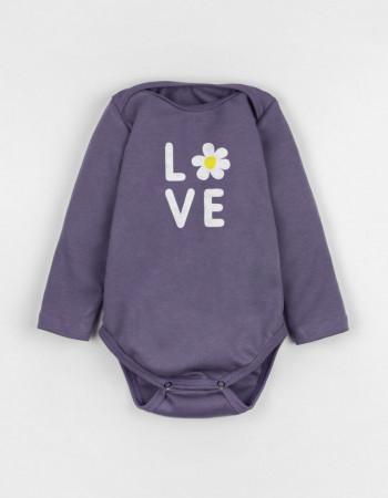 Боди с длинным рукавом фиолетовый FLOWER LOVE
