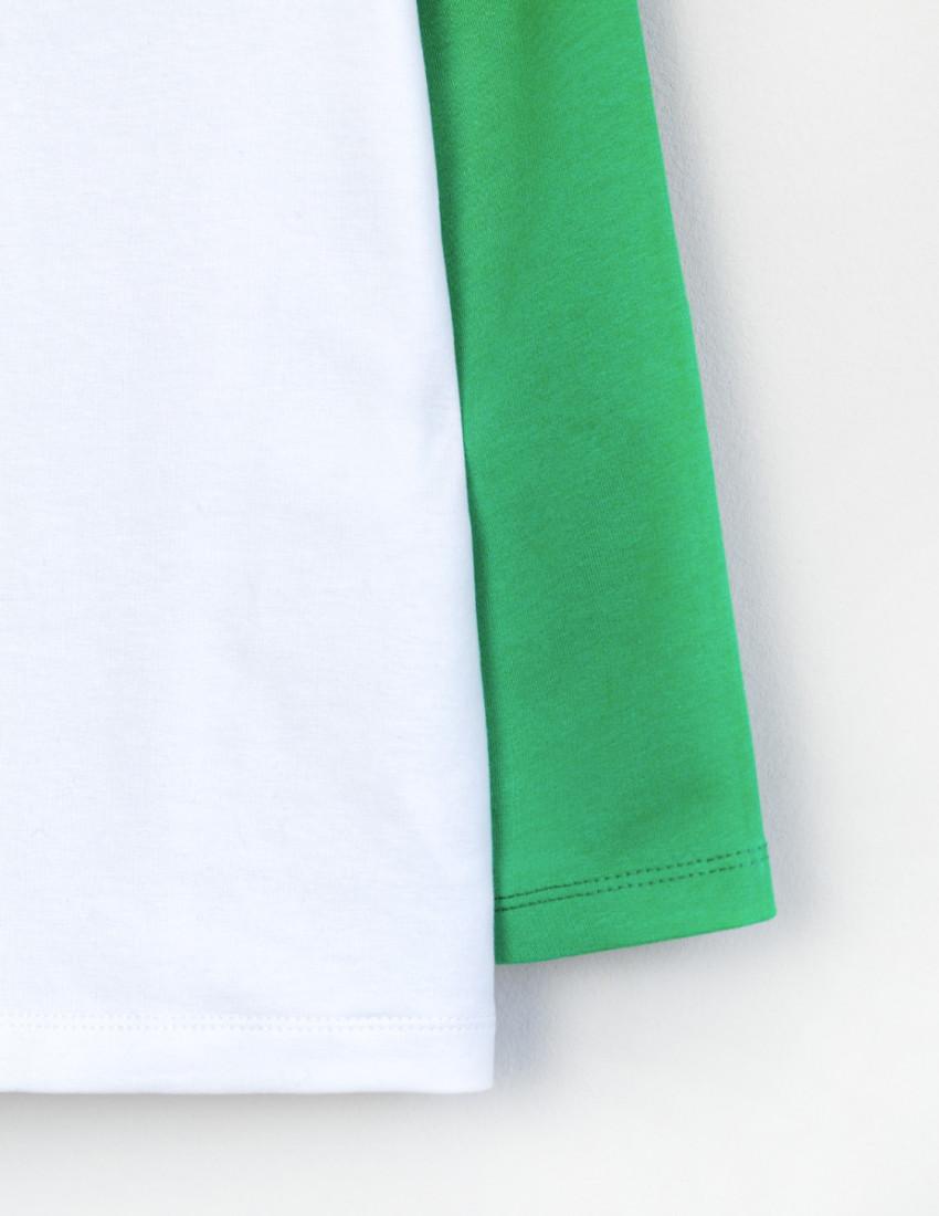 Реглан Элвин бело-зелёный