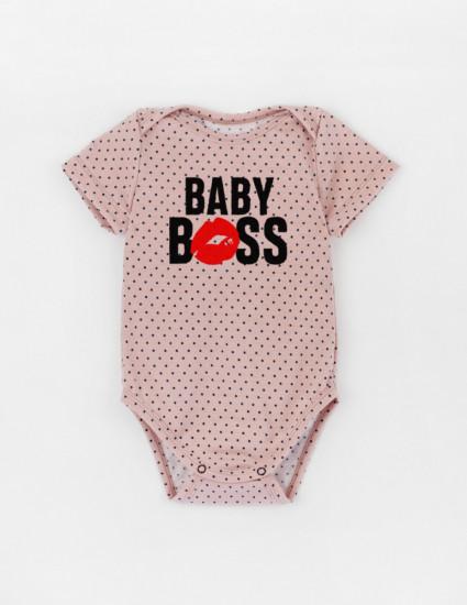 Боди с коротким рукавом Мирея пудровый в горох Baby boss
