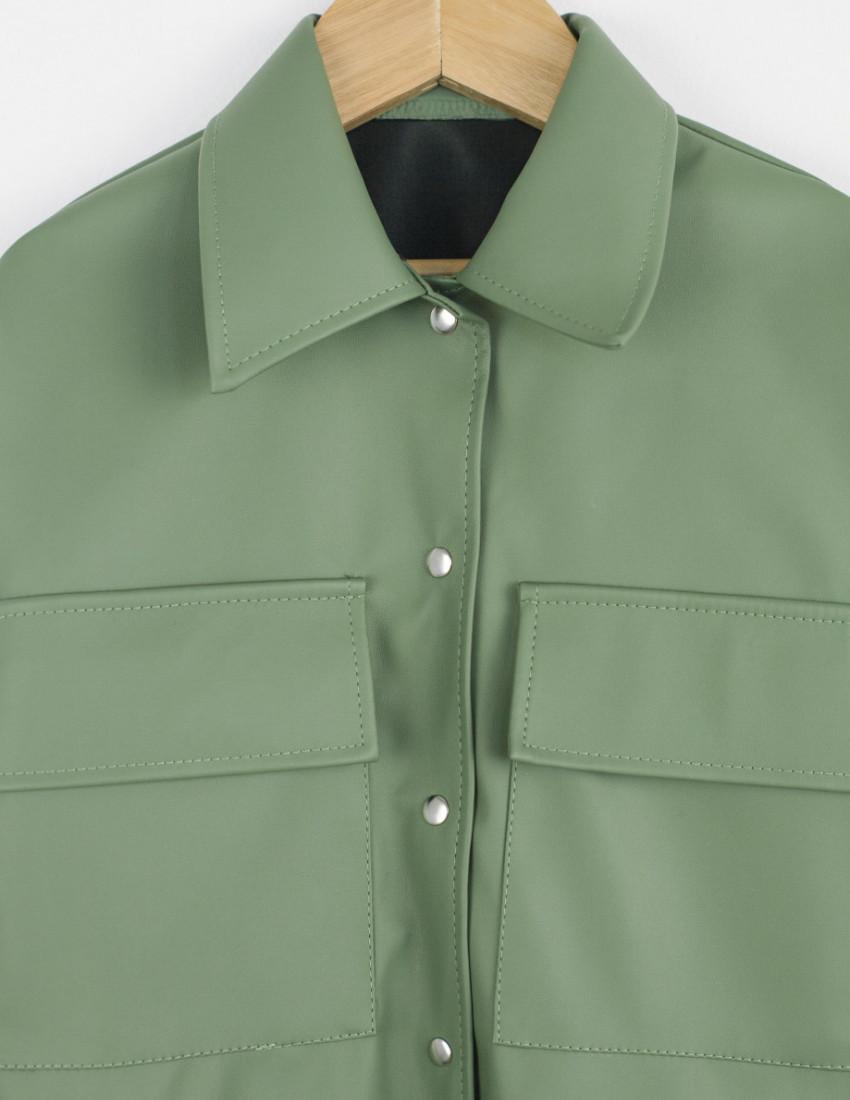 Рубашка кожаная Моникс оливковая