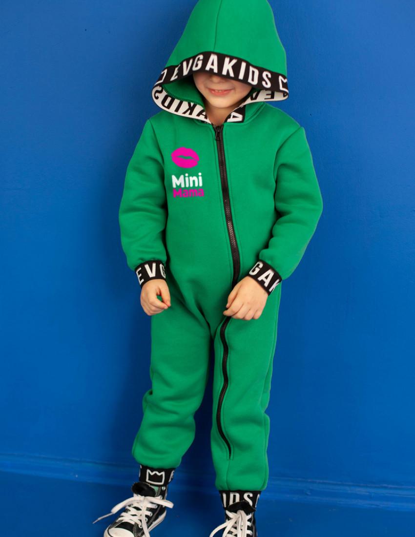Комбинезон Малоун зелёный с начесом Mini MAMA lips