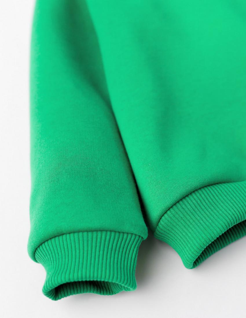 Свитшот Джойс зелёный с начесом BUTTERFLY TATTOO