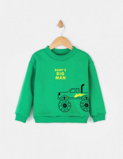 Свитшот Джойс зелёный с начесом Dady's big man