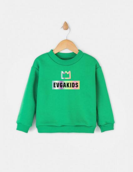 Свитшот Джойс зелёный Evgakids c коронкой
