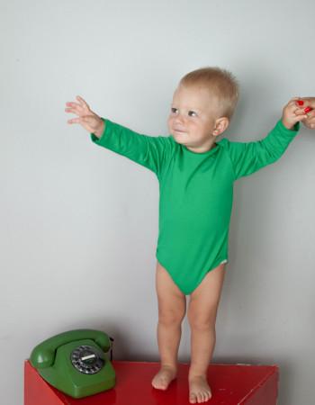 Боди с длинным рукавом зелёный
