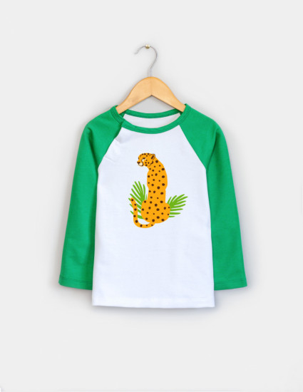 Реглан Элвин бело-зелёный Леопард